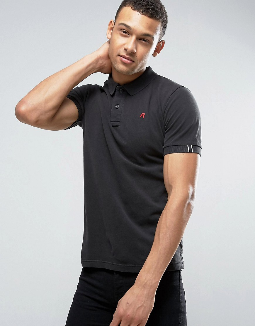 Replay Logo Polo Shirt Short Sleeve - Black