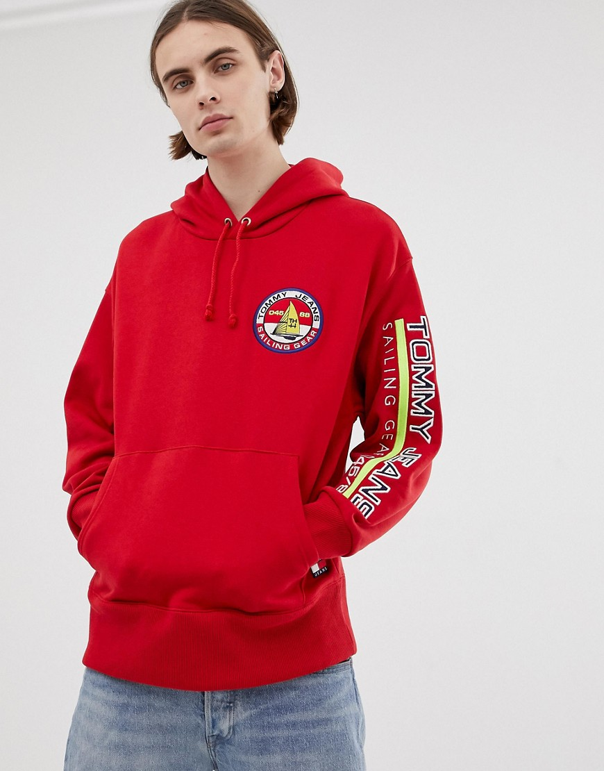 Tommy Jeans 90s Sailing Capsule Back and Sleeve Logo Hoodie in Red - Barbados cherry