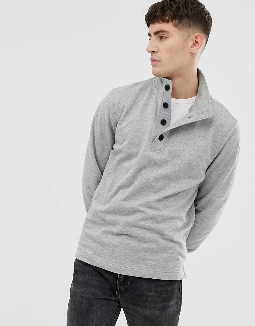 J.Crew Mercantile mock neck sweatshirt in grey marl - Heather grey
