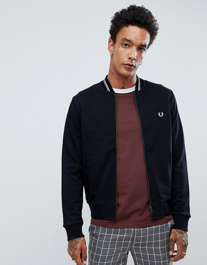 Fred Perry bomber neck zip thru sweat in black - Black