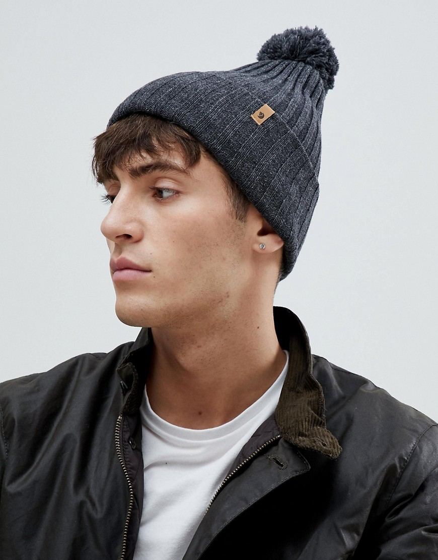 Fjallraven Byron bobble beanie in dark grey - Dark grey