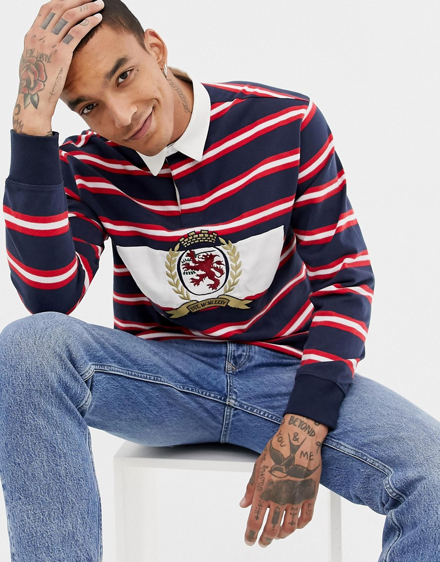Tommy Jeans 6.0 Limited Capsule rugby polo with large crest logo in navy/red/white stripe - Sapphire multi