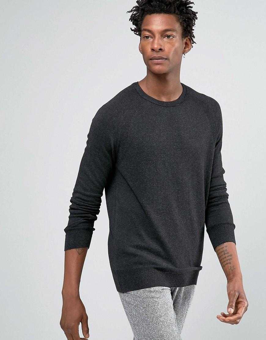 Kiomi Jumper In Fine Knit - Dark grey melange