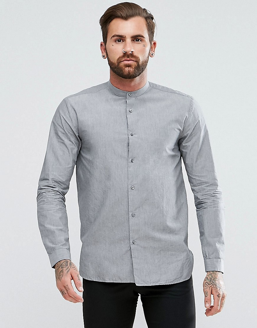 HUGO Eddison Slim Fit Grandad Collar Cotton Shirt in Grey - Grey