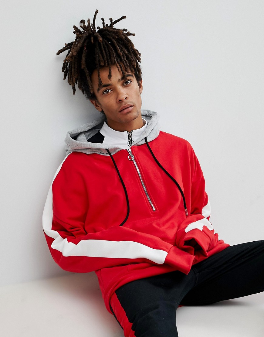 Sixth June Oversized Hoodie In Red With Half Zip And Stripe - Red