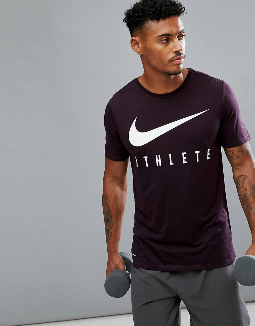Nike Training Dri-FIT Athlete T-Shirt In Burgundy 739420-652 - Red