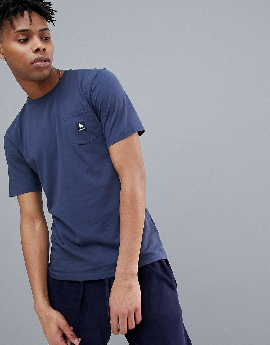 Burton Snowboards Colfax Logo Pocket T-Shirt in Navy - Mood indigo