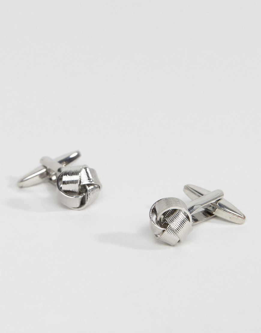 DesignB Knot Cufflinks In Silver Exclusive To ASOS - Silver