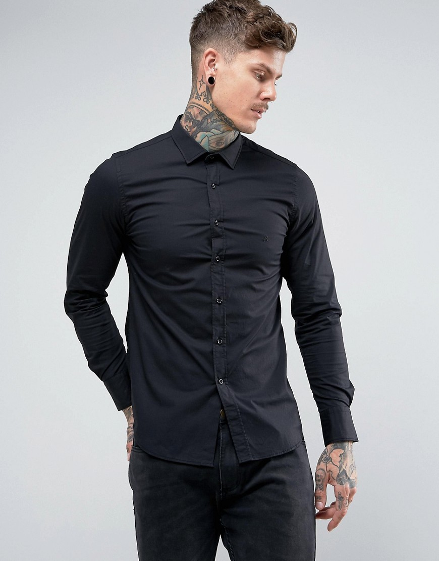 Replay Slim Stretch Poplin Shirt - Black
