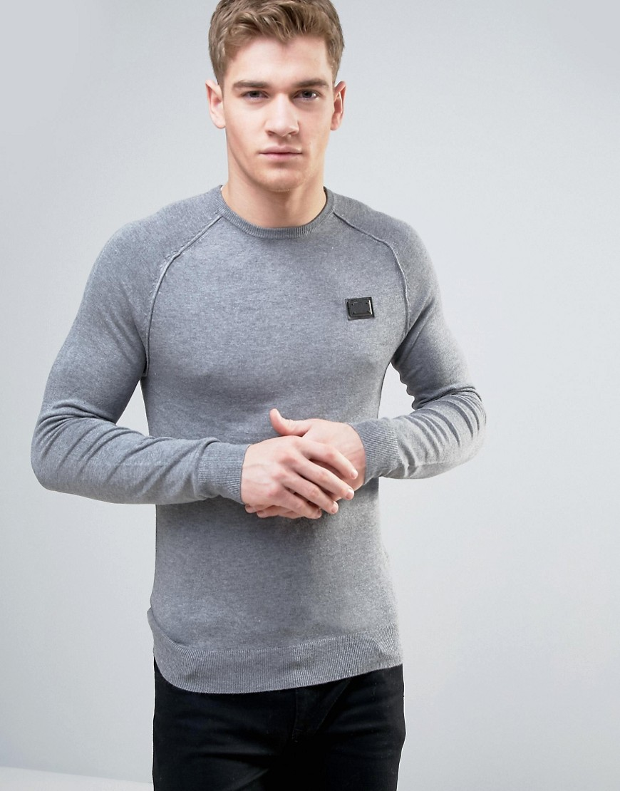 Born Rich Knitted Jumper with Ribbed Collar - Grey