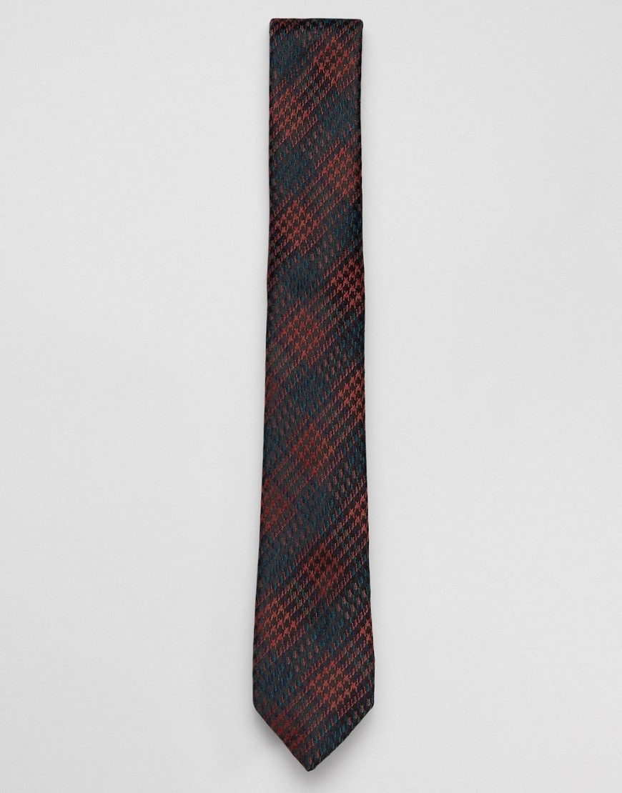 Harry Brown checked tie - Rust