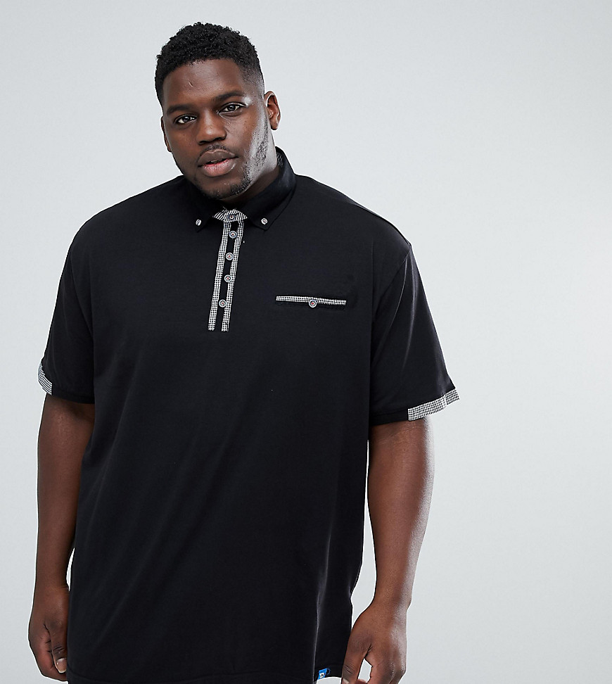 Duke PLUS Polo Shirt with Contrast Collar - Black