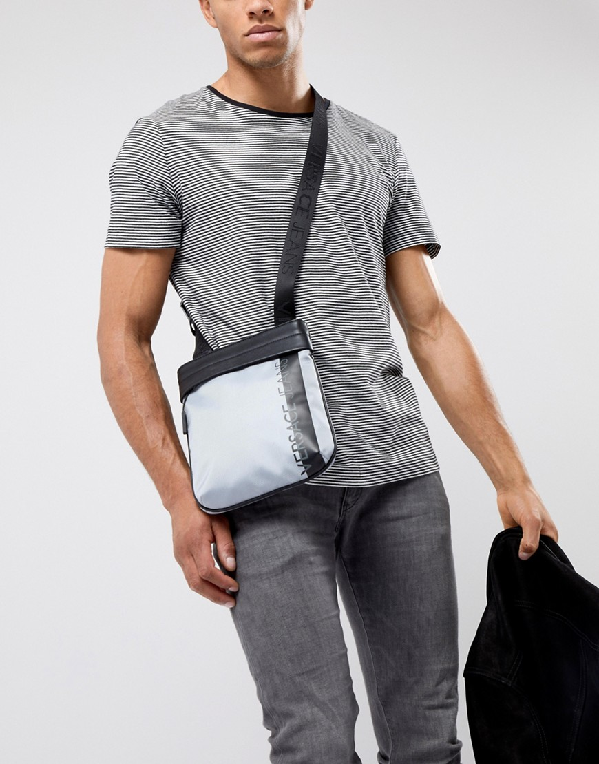 Versace Jeans Flight Bag In Grey With Large Logo - Grey