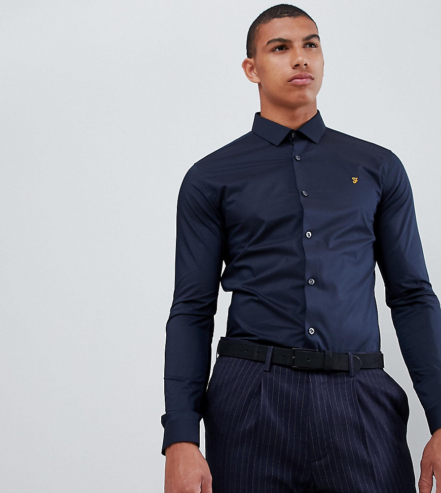 Farah Swinton skinny smart poplin shirt with stretch in navy - Navy
