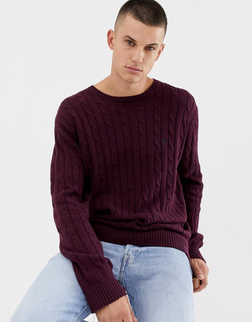 French Connection 100% Cotton Logo Cable Knit Jumper - Chateaux