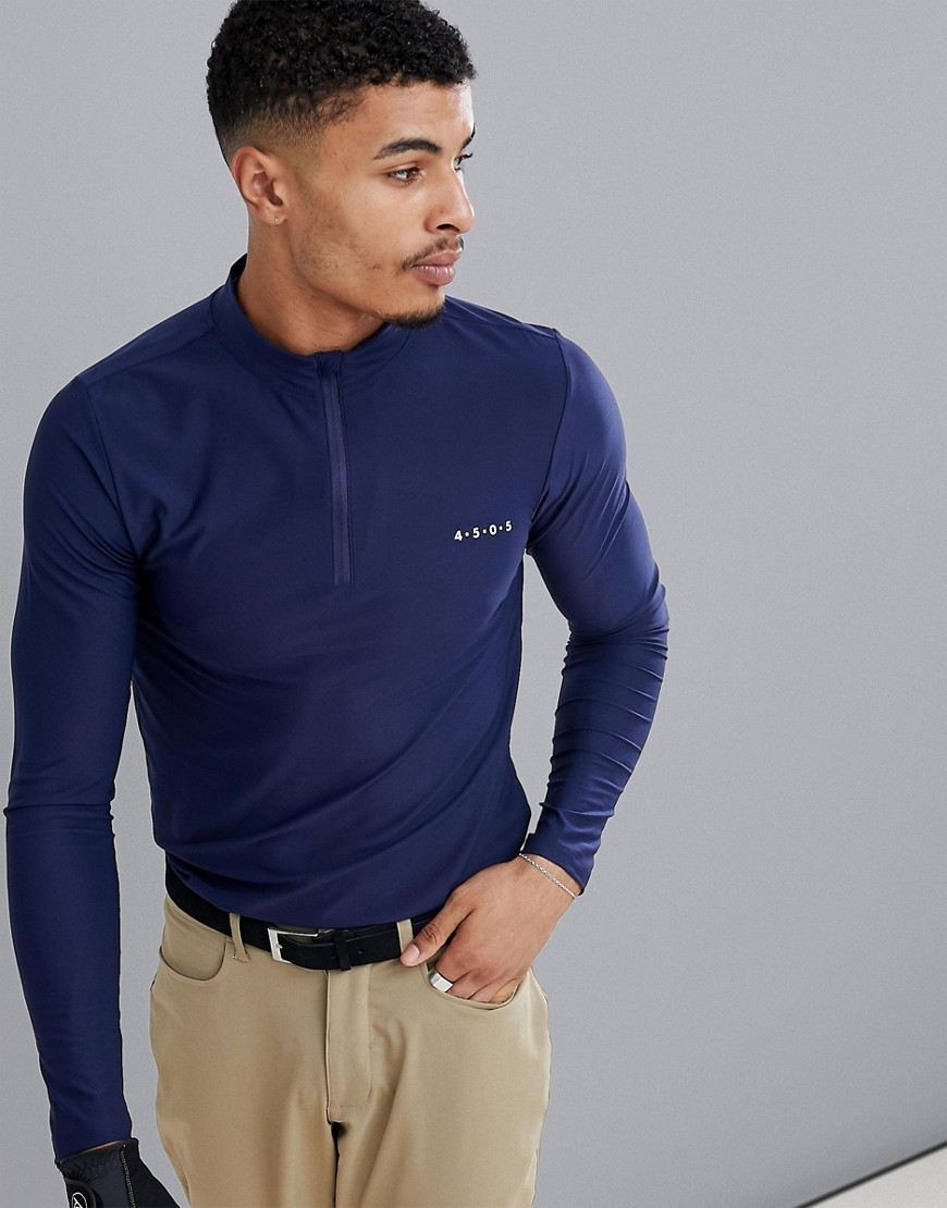 ASOS 4505 golf long sleeve t-shirt with half zip and quick dry - Navy