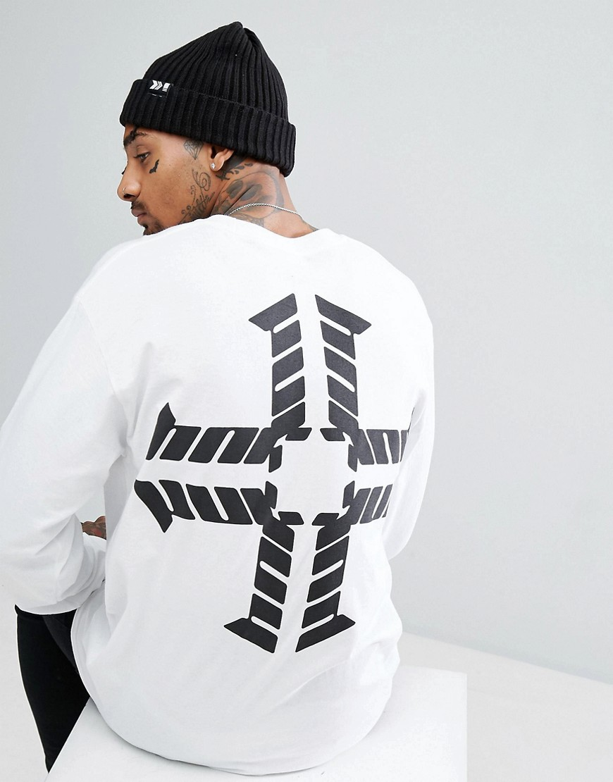 HNR LDN Logo Back Print Long Sleeve Top - White