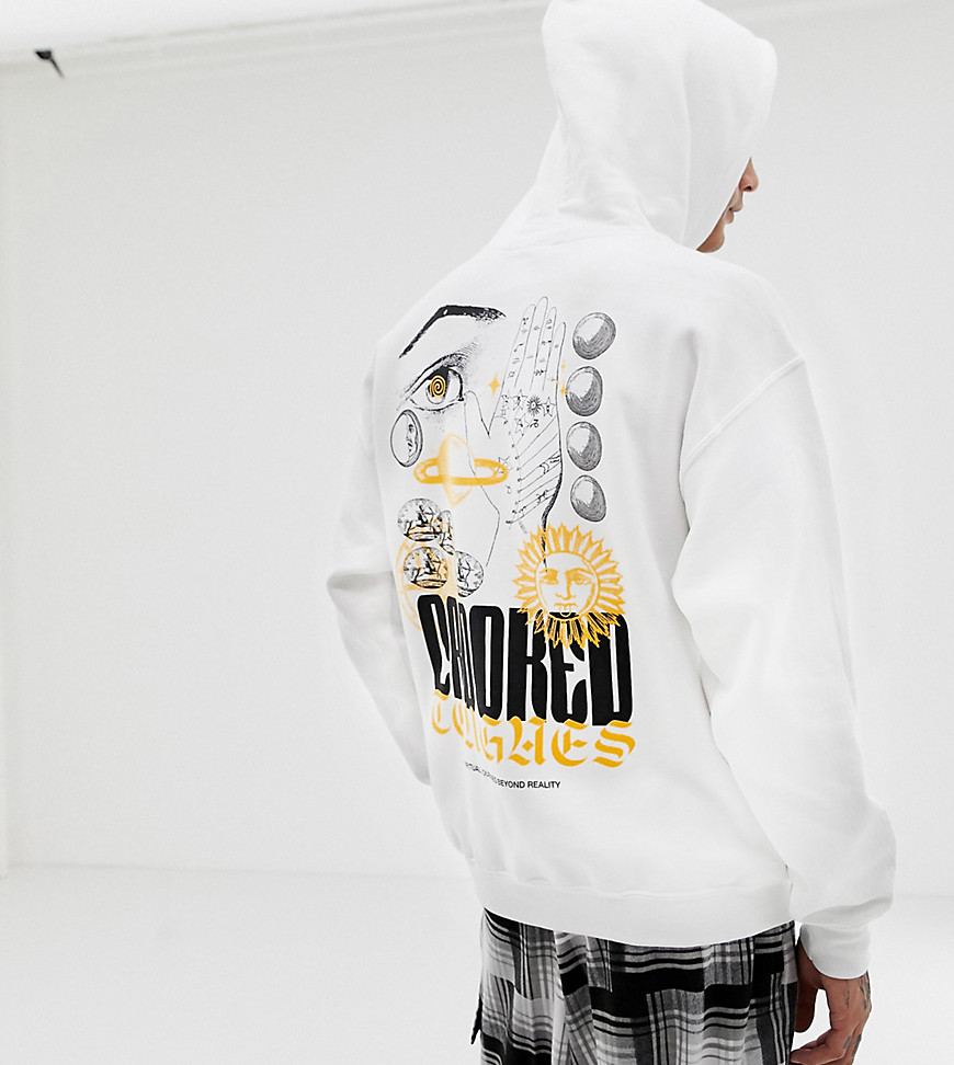 Crooked Tongues Oversized Hoodie In White With Palm And Sun Print - White
