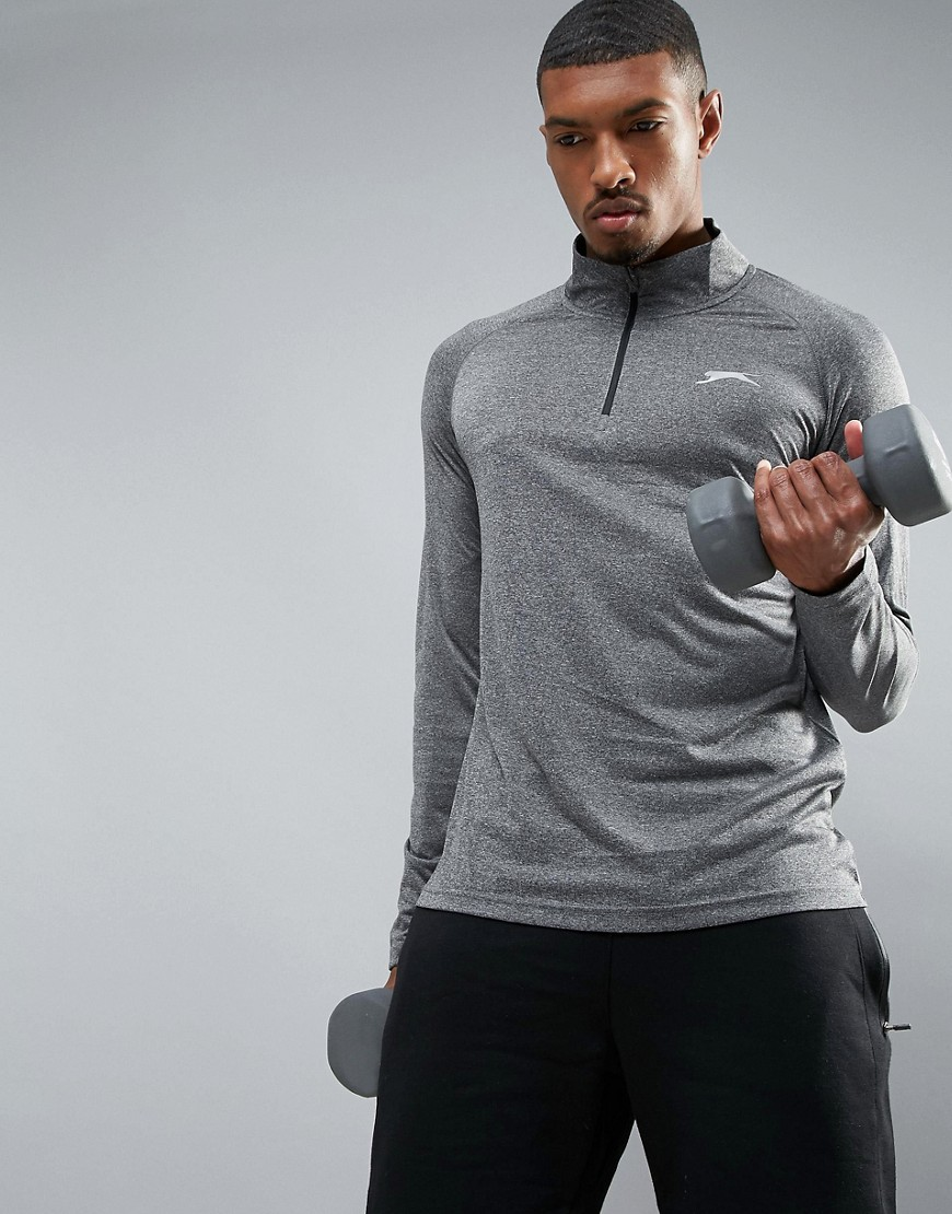 Slazenger 1/4 Zip Long Sleeve Top - Black