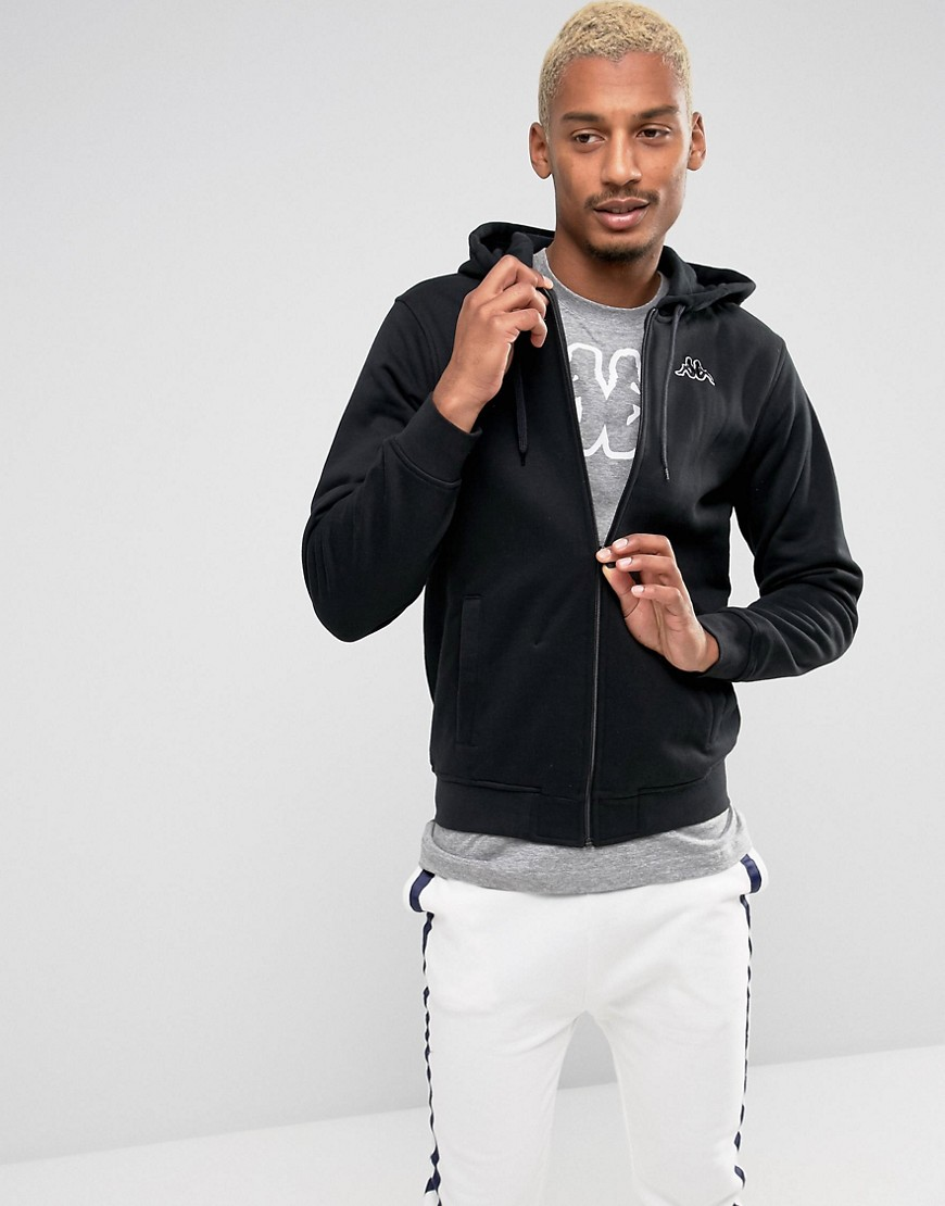 Kappa Small Logo Zip Thru Hoodie - Black