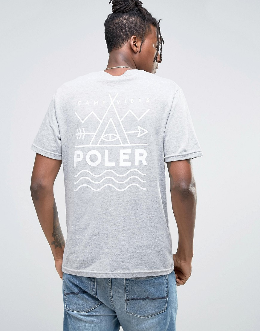 Poler T-Shirt With Back Print - Grey