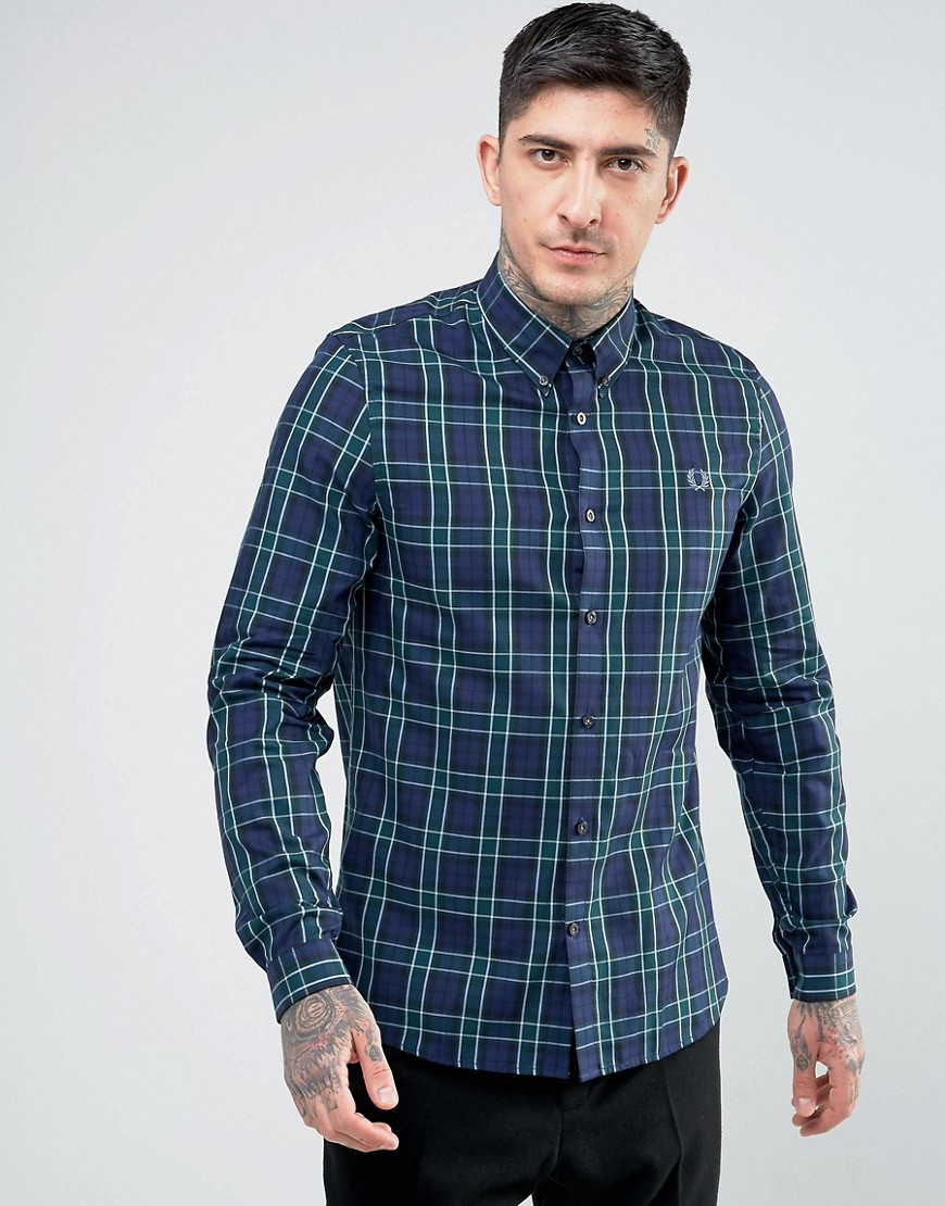 Fred Perry Enlarged Tartan Shirt in Navy - Navy
