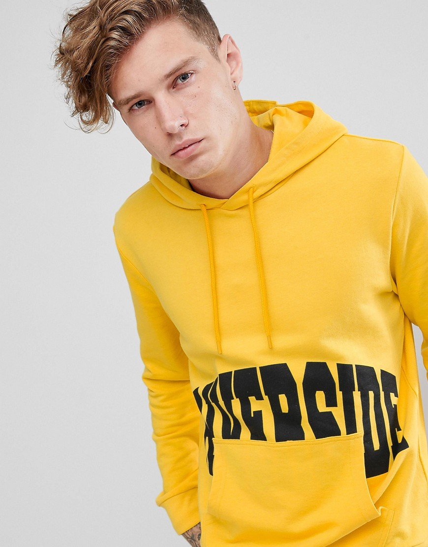 Brooklyn Supply Co hoodie with riverside print in yellow - Yellow