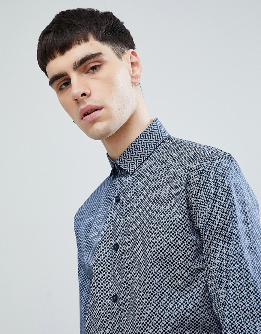 Lindbergh All Over Print Shirt in Navy - Blue