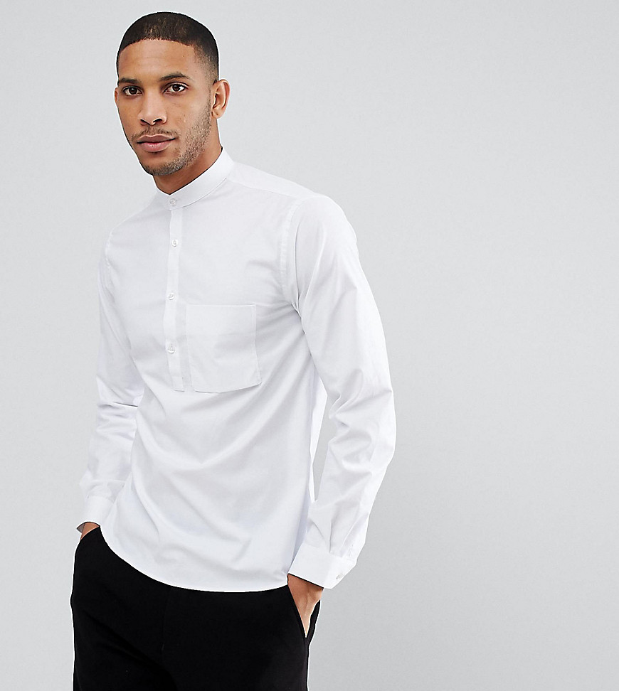 Noak Half Placket Grandad Shirt - White