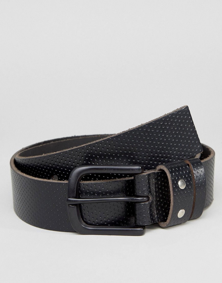 Systvm Perforated Leather Belt - Black