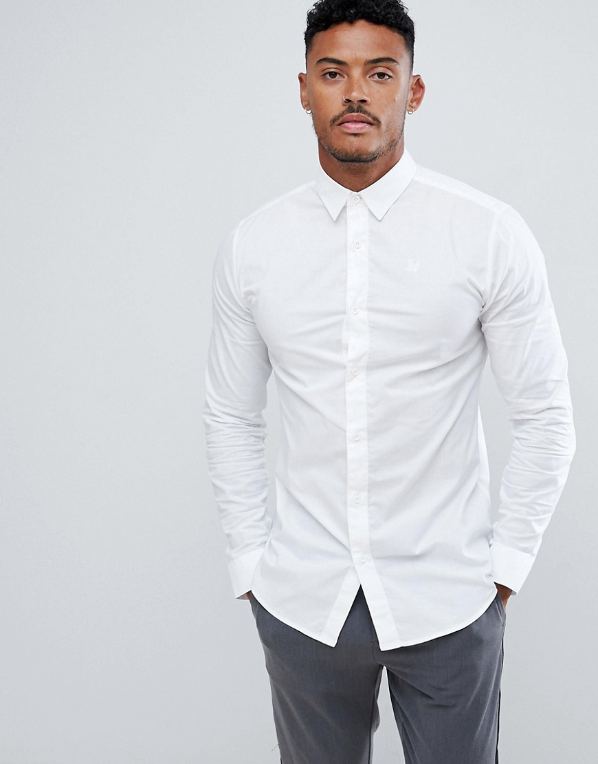 SikSilk long sleeve muscle fit shirt in white - White