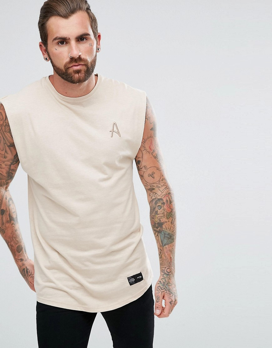 Aces Couture Muscle Sleeveless T-Shirt In Stone - Stone