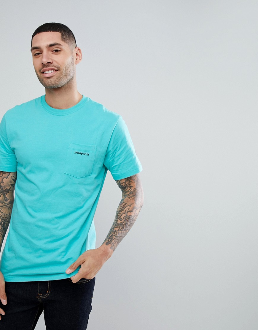 Patagonia T-Shirt With P-6 Pocket Back Logo Print in Aqua - Strait blue