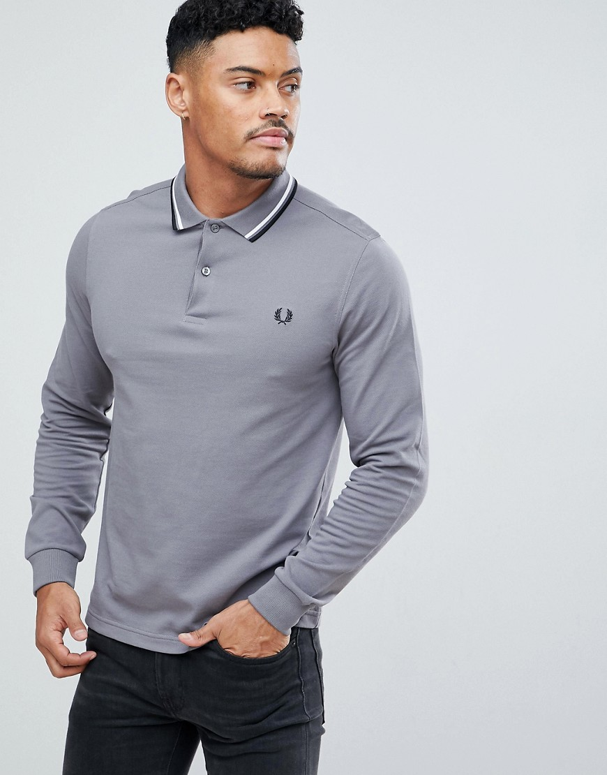 Fred Perry Long Sleeve Slim Fit Twin Tipped Polo Shirt In Grey - 256