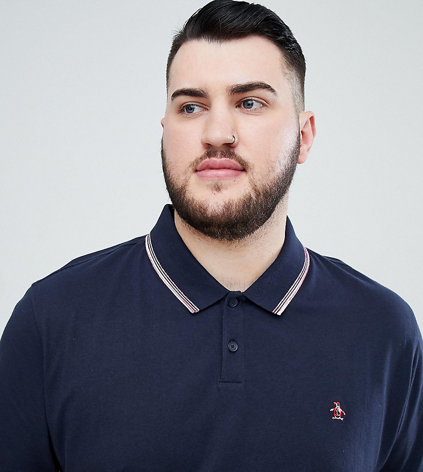 Original Penguin Big & Tall space dye tipping polo slim fit embroidered logo in navy - Dark sapphire