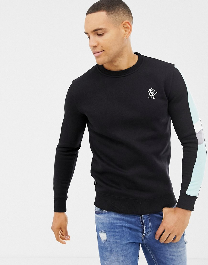 Gym King muscle crew neck sweat with side stripes in black - Black