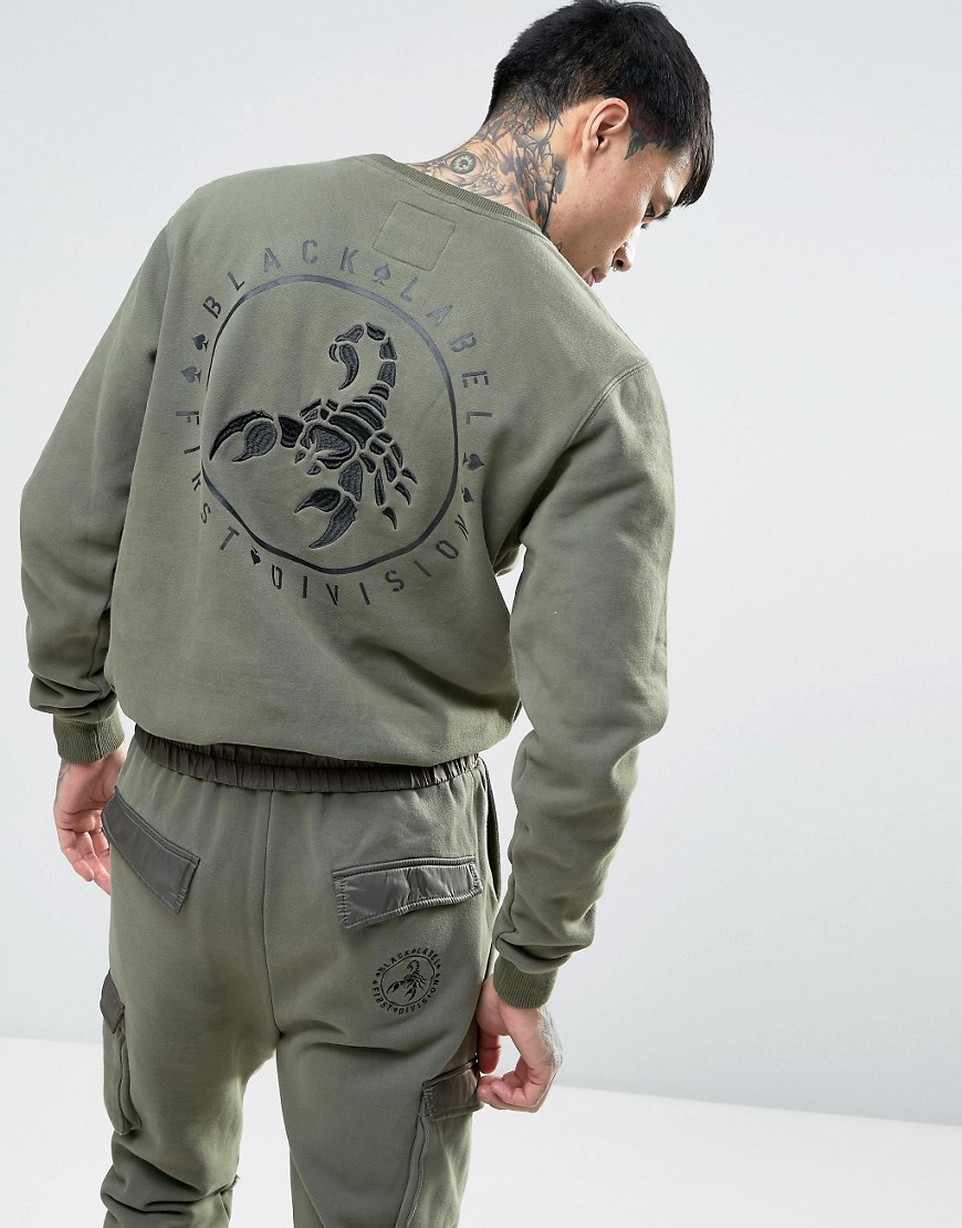 Cayler & Sons Sweatshirt With Scorpion Back Embroidery - Khaki