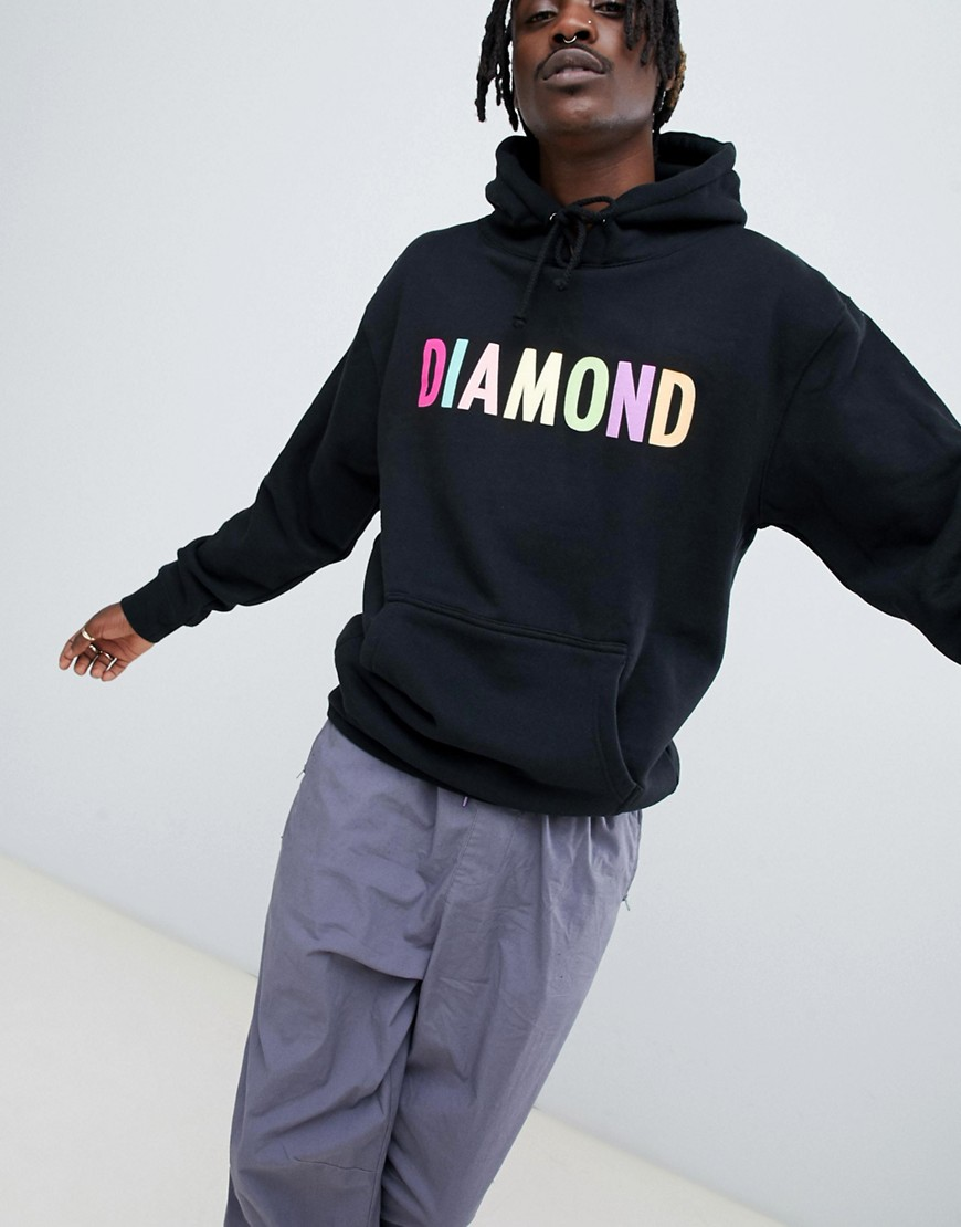 Diamond Supply Colour Pop Logo Hoodie In Black - Black