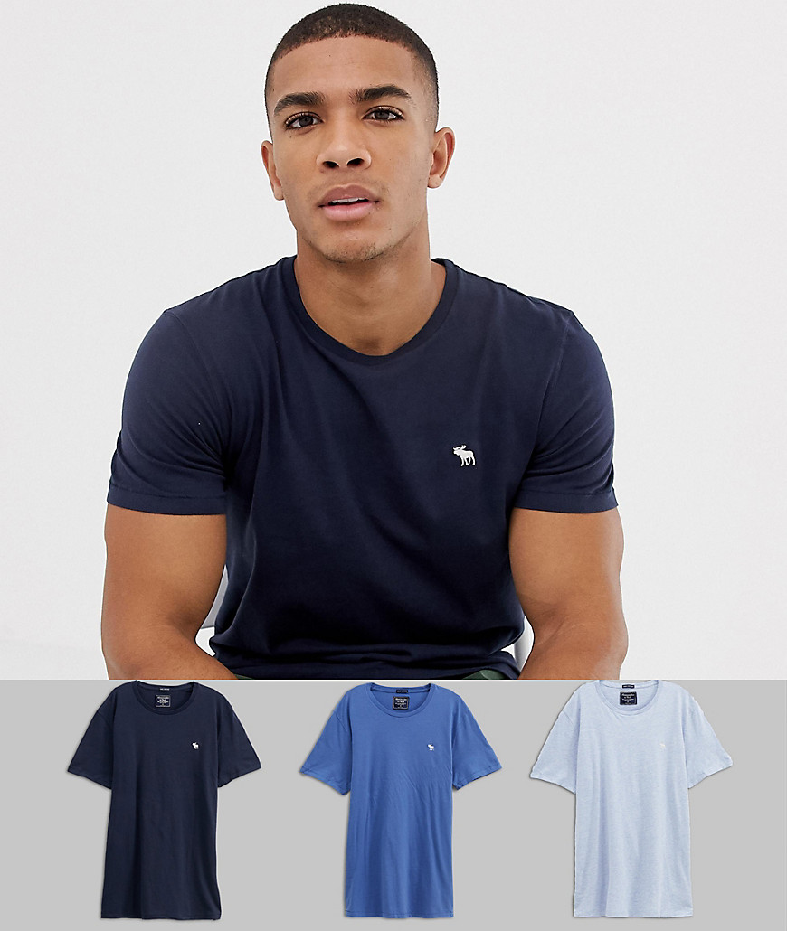 Abercrombie & Fitch 3 pack crew neck t-shirt icon logo in blues - Blue multi