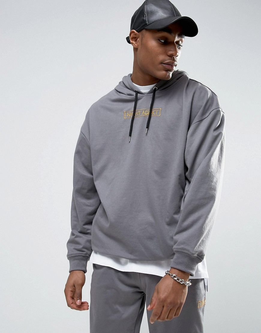 Night Addict Embroidered Logo Hoodie - Grey