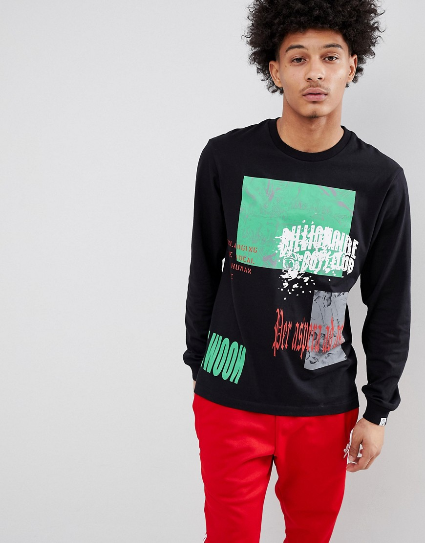 Billionaire Boys Club Collage Print Long Sleeve T-Shirt In Black - Black