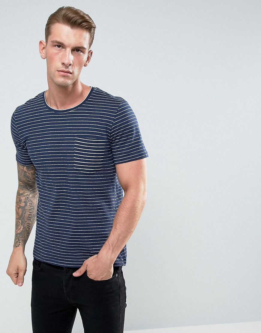 Casual Friday T-Shirt In Textured Stripe With Reverse Pocket - Navy