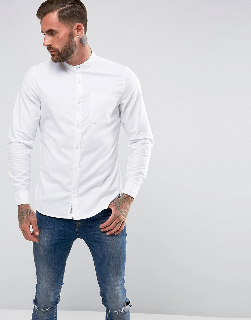 Original Penguin Collarless Heritage Slim Fit Shirt Oxford Stretch in White - Bright white