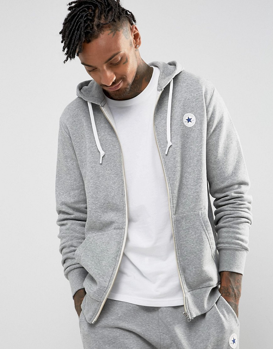 Converse Chuck Patch Zip Hoodie In Grey 10004627-A03 - Grey