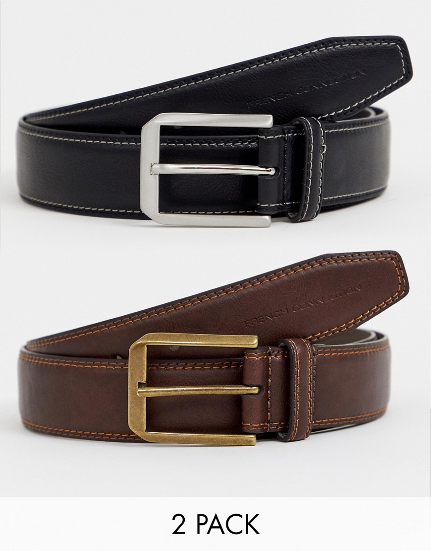 French Connection 2 Pack Casual Leather Belt - Black/brown