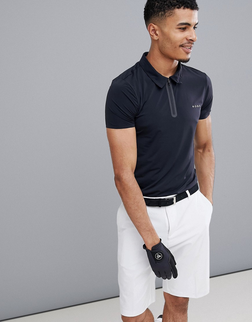 ASOS 4505 golf polo with bonded zip and quick dry - Black
