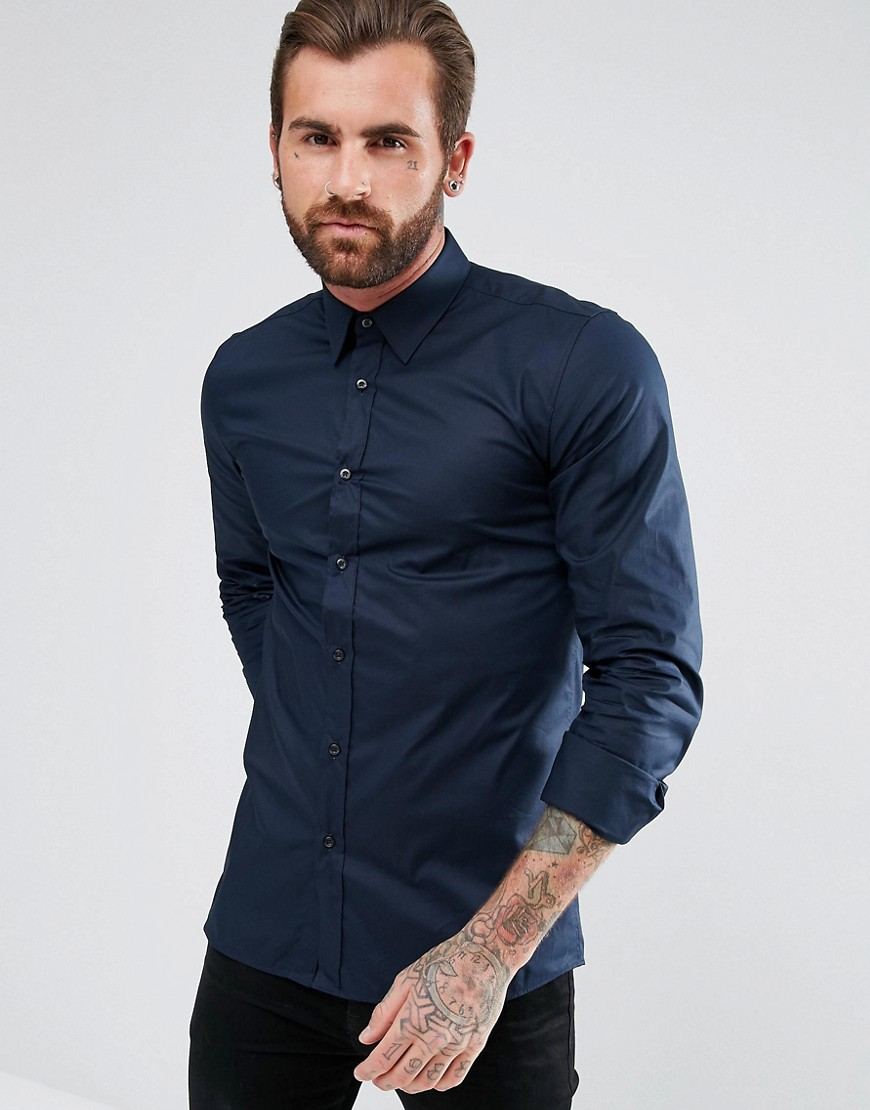 HUGO Elisha Extra Slim Fit Stretch Poplin Shirt in Navy - Navy