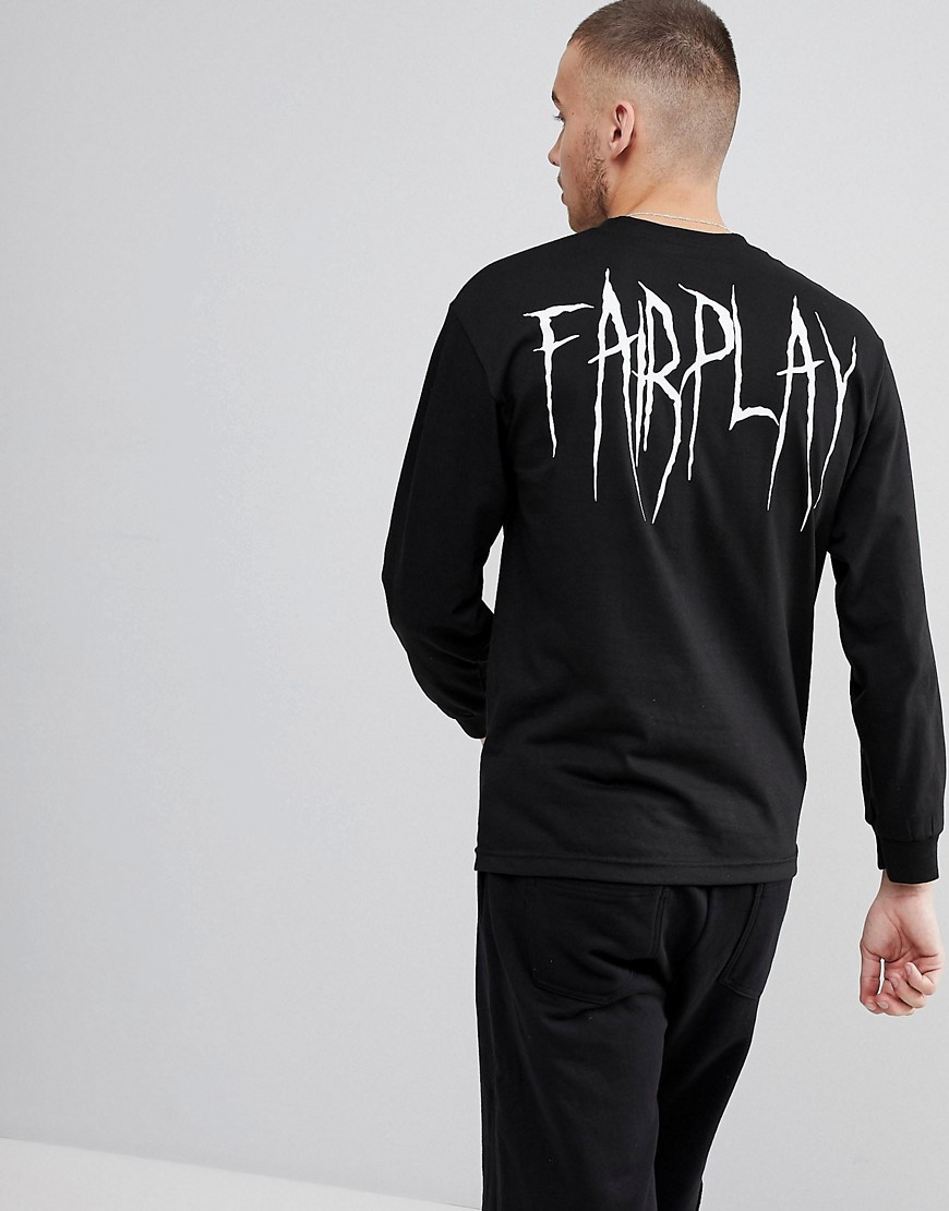 Fairplay Long Sleeve T-Shirt With Back Print In Black - Black