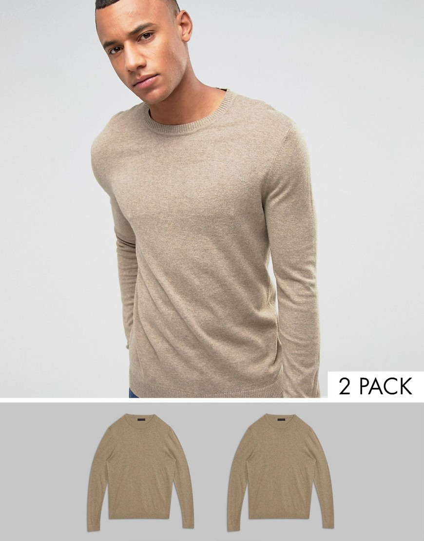 ASOS 2 Pack Cotton Jumper In Oatmeal SAVE - Beige