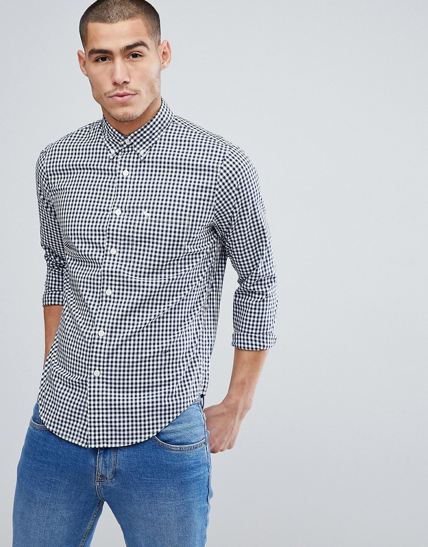 Abercrombie & Fitch Button Down Collar Gingham Poplin Shirt Slim Fit Moose Logo in Navy - Navy